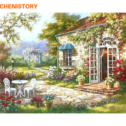 Wholesale Plastic Paint Walls - Chenisotry Garden House Diy Painting By Numbers Abstract Modern Oil Painting Home Wall Art Decor For Living Room Artwork 40x50cm
