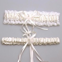Wholesale Ivory Wedding Bridal Garter - Sexy New 2015 Bridal Accessory Satin Lace Ivory Pink Blue Garter Silk Ribbon Floral Pearl Wedding Decoration Garter Free Shipping CPA281