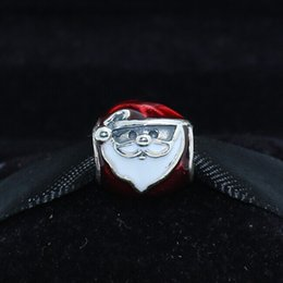 Wholesale Glass Beads Santa - 925 Sterling Silver Jolly Santa Charm Bead with Red and White Enamel Fits European Pandora Jewelry Bracelets & Necklaces