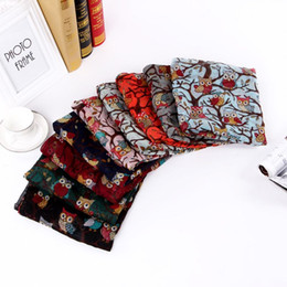 Wholesale Wholesale Printed Animal Scarves - Fashion women scarves fall and winter shawls 190cm*95cm Women Long Scarf Shawl Silk Owl Printed Scarves