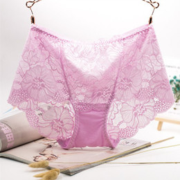 Wholesale Ladies Transparent Briefs - Sexy Lace Women Ladies High Waist Lace Panties Transparent Briefs Underwear Intimates Hollow Bottom Female Plus Size XL