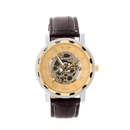 Wholesale Golden Fashion Watches For Men - 2015 Men leather watch golden number imitation mechanical automatic watches sport Wristwatch For Man Laddy Lowest Price Luxury Gold Sliver