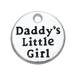 Wholesale Antique Silver Girl Pendant - For Gift&University Zinc Alloy Antique Silver Plated Floating Daddy's Little Girl Pendant Charms For Gift&University DIY Jewelry