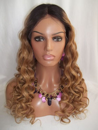Wholesale Ombre Tie - Ombre Color Lace Front Human Hair Wigs Natural Color T#27 Blonde Hair Lace Wig Body Curl Brazili Virgin Hair Curl Wigs 8''-24'' In Stock