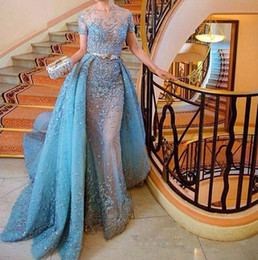 Wholesale Zuhair Murad Designs - Zuhair Murad Light Sky Blue Evening Dress Fashion Design Lace Appliques Short Sleeve Overskirts Evening Gowns 2017 Charming Prom Party Gowns