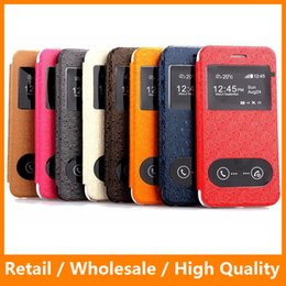 Wholesale Iphone Maze - Mobile Phone Case Maze Grain Leather Protector Double Windows View Smart Calling Display Flip Stand Case for iPhone6 6s 4.7inch
