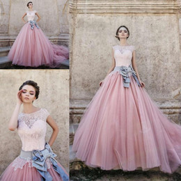 Wholesale Pink Cinderella Dress Plus Size - 2016 Cinderella Ball Gown Prom Dresses Sweetheart Cap Sleeves Lace Tulle Plus Size Custom Made Dusty Pink Sweet 16 Gown Quinceanera Dresses