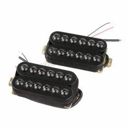 Wholesale Guitar Neck Style - Set of Ceramic Magnet Invader Style Guitar Humbucker Pickup Bridge & Neck Black