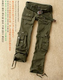 Wholesale Korean Pants For Men - Spring and Autumn Korean camouflage casual men and women loose trousers multi-pocket Camo pants Military Straight Training for womens