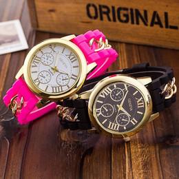 Reloj estilo ginebra oro online-2015 Moda Shadow Rose-Gold Colorful Style Geneva Watch Caucho de Silicona Candy Jelly Moda Hombres Wamen Silicona Relojes de cadena de regalo de cuarzo