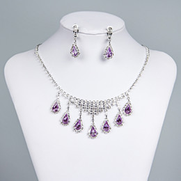 Wholesale Purple Feathers - 2017 New Styles Statement Necklaces Pearl Sets Bridesmaids Jewelry Lady Women Prom Party Fashion Jewelry Earrings 15003b