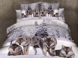 Wholesale Bedding Wolf Comforter - Wholesale-3d printed wolfs animals 100%cotton bedding sets 4pcs duvet quilt bed set covers queen king size bedclothes comforters bedsheet