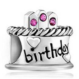 Argentina Venta caliente Happy Birthday birthstone Crystal Rhinestone Cake de cumpleaños Charm Bead Fit Pandora Charm Bracelet supplier cake beads Suministro