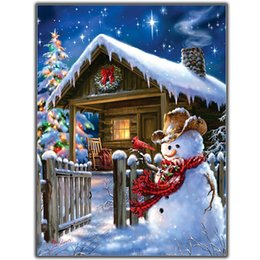 Wholesale Lonely Paintings - MOONCRESIN 3D Diy Diamond Embroidery Christmas Lonely Snowman Diamond Mosaic Full Diamond Painting Cross Stitch Decoration Kits