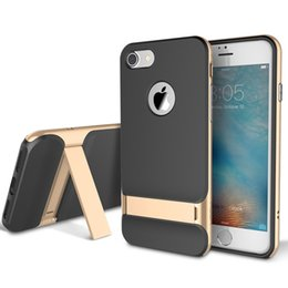 Wholesale Plastic Rocks - Rock Case For iPhone 8 8 plus With Kickstand Ultra-Thin PC + TPU Shockproof Back Cover for iphone 7 7 plus case capa