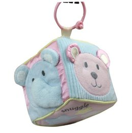 Wholesale Wholesale Cloth Clutches - Wholesale-Multifunction Clutch Cube Bear Head Plush Cloth Blocks Baby Musical Rattles Toys for Stroller Bed