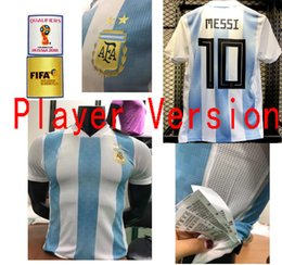 Wholesale Messi Football Player - 2018 World Cup Argentina Soccer Jersey 2018 Argentina Player Version Home Blue Soccer Shirt Messi Aguero Di Maria football uniform