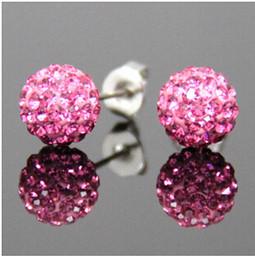 Silber-perlen online-(1 Los = 50 Paare Mischen 30 Farben) perlen Ohrringe 925 Silber Überzogene Kupfer Ohrstecker Ton Material Mit Vollen Kristall Ohrstecker