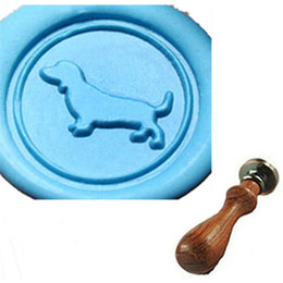 Wholesale Dog Pictures - Vintage Cute Dachshund Dog Custom Picture Wax Seal Stamp Wedding Invitation