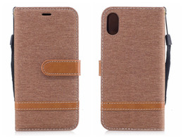 Wholesale Apple Jeans - Flip Cover For iPhone X Case Leather Luxury Card Vintage Business Canvas Jeans For iPhone X iPhoneX Case Flip Cover