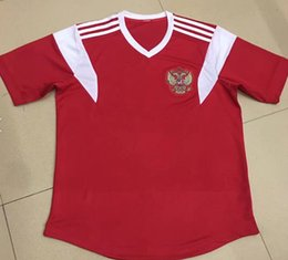 Wholesale Russian Men Clothes - Wholesale 2018 Russia home Red soccer jersey world cup russian Top quality soccer clothing uniforms football shirt