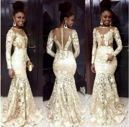 Wholesale White Dresses For Petite Women - 2016 South African Style Evening Dresses Lace Champagne Sheer Neck Long Sleeve Mermaid Prom Dresses For Woman Plus Size Formal Party Dresses
