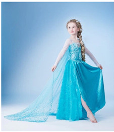 Wholesale Free People Lace - Blue Frozen Princess Dresses Blue Elsa Dresses With White Lace Wape Girls New Fashion Frozen Dresses Ready Stock