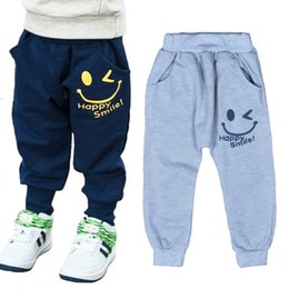 Wholesale Unique Kids Clothes - Retail Baby Boys Smile Pants 2016 Cartoon Children Harem Pants Letter Printing Girls Sport Trousers Unique Smiling Kids Clothing Gray Navy
