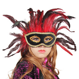 Wholesale Noble Women Costumes - Noble Red Feather Black Leather Mask Masquerade Venice Princess Sexy Mask Half Face Halloween Party Women Performance Costume Decor 10pcs