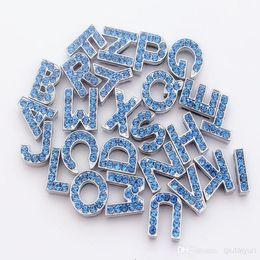 Wholesale Dog Collars For Slide Letters - 2015 HOT Sale 10mm Crystal Block Slide Letter A-Z Personalized DIY Name Slide Letters for Dog Pet Collar Pet Product blue pink 524