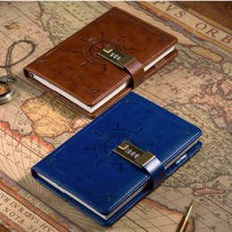Wholesale Leather A5 Notebook - Wholesale- Handy Travelers Notebook A5 Leather notebook notepad with lock Sailor Sailing Theme the Office Notebooks and Journals Supplies