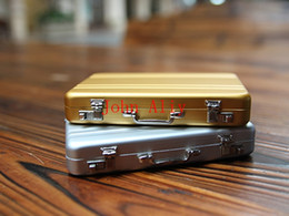 Wholesale Briefcase Metal - HOT SALE!Free Shipping 100pcs lot Vogue Metal Mini Briefcase Suitcase Business Bank Card Name Card Holder Case Box