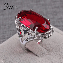 Wholesale Auger Ring - Wholesale- WinWinWin Creative Big Crystal Rings for Women Auger Red Black Zircon Rings Vintage Fashion Gifts Personality Finger Rings Anel