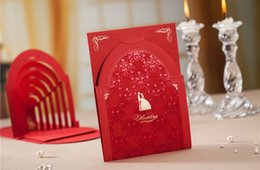 Wholesale Cheap Red Wedding Invitations - Cheap Red 3D Wedding Invitations Cards With Hollow Cut-out Personalized & Customized Printing Free Shipping Wedding Accessories