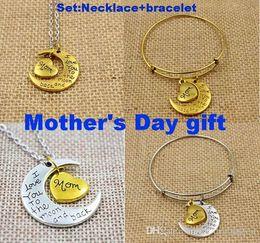 Wholesale Loom Bracelet Sets - Mother mom gift I love you to the moon and back necklace +bracelet set pulseras loom bands bijoux