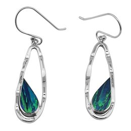 Wholesale Teardrop Dangle Earrings Blue - Teardrop Earrings with tapered opal gemstone reflecting and shining mutually Pure handmade 925 silver stunning design for E975.