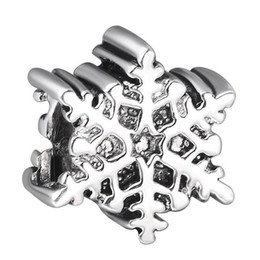 Wholesale Sterling Silver Snowflake Bead - Wholesale 925 Sterling Silver Bead Christmas Snowflakes European Charms Silver Beads For Snake Chain Bracelet DIY Fashion Jewelry