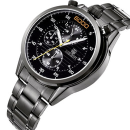 Wholesale Hour Hand Men - MEGIR Rose Gold Watches Top Brand Luxury Men Full Steel Watches Chronograph 6 Hands 24 Hours Military Watch Relogio Masculino