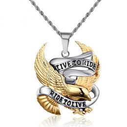 Wholesale Eagle Choker Necklace - Punk rock tide male act the role ofing is tasted Personality pendant restoring ancient ways eagle titanium steel necklace pendant