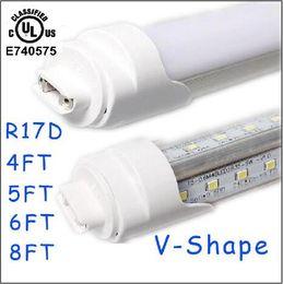 Wholesale Tube Led Cooler Door Lights - 25pcs T8 LED Tube Light R17d 8ft 6FT 5FT 4FT 1.2m~ 2.4m LED V Shape 270° Double row Light For cooler door 28w 65w tubes AC85-265V CE UL