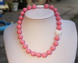 Wholesale Middle Child - Children Silicone Teething Necklace with Violet Pink Heart Bead   Sensory Chew Necklace - Silicone