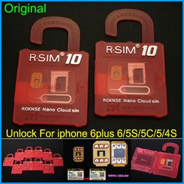 Wholesale Support Iphone 4s - Newest Original R-SIM 10 rsim 10 R SIM 10 Official Unlock Card for iphone 4S 5 5C 5S 6 6plus iOS7. X-8.X Support Sprint AT&T T-mobile Cricke