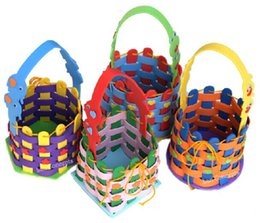 Wholesale Diy Kids Craft Set - EVA Knit Basket Woven Bag for Children Gift Kids Toy DIY Craft Kit - mixed designs 10 sets lot wholesale free shipping