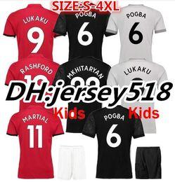 Wholesale Red Black Shirts - 17 18 POGBA soccer jerseys football shirt ALEXIS LINDELOF RASHFORD Ibrahimovic MKHITARYAN LUKAKU MARTIAL JERSEY united Adults and kids S-4XL