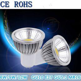 Wholesale Led Cob Bulbs - Dimmable COB Led Bulbs 6W 9W 12W Led Spotlight Lamp 120 Angle 110-240V GU10 E27 E14 GU5.3 MR16 12V Warm Cool White Downlight CE ROHS CSA UL