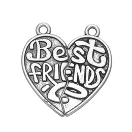 Wholesale Metal Shapes For Jewelry Making - 5 Pair  lot Best Friends Heart Shape Message Charm Silver Plated Metal Jewelry Making For Friendship Fashion Charm