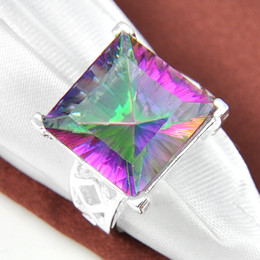Wholesale Gem Square Ring - Promotion Rings 5 Pcs 1 Lot Square Crystal Shine Mystic Topaz Gems 925 Sterling Silver Ring Russia American Australia Weddings Jewelry