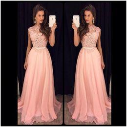 Wholesale vintage dresses cheap online - Elegant Pink Lace Prom Dresses A Line Chiffon Cheap Party Dress Fashion 2016 Long Cheap Evening Prom Dress Online
