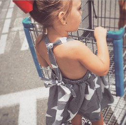 Wholesale Star Baby Dress - Everweekend Kids Girls Ins Hot Fashion Backless Suspender Dress Moon Stars Cloud Sun Cute Lovely Baby Dress