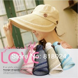 Wholesale Sexy Sun Hats - Wholesale-2015 Fashion Women's Lady Foldable Large Hollywood sexy lovely wide wire brim Summer   Beach   Sun  Floppy   Straw hat 4